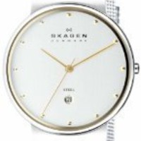 Skagen Men&#x27;s 355LGSC Two-Tone Mesh Band Watch