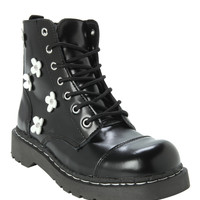 Anarchic By T.U.K. Black And White Flower Combat Boot
