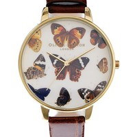 Olivia Burton Woodland Butterfly Face Watch - Brown