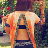 Bohemian Top Open Back Shirt Slit Tie Dye Orange Boho Hippie Layering Upcycled Clothes Recycled Clothing OOAK by TheBohemianDream