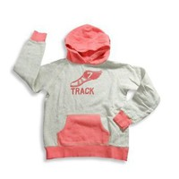 Gold Rush Outfitters - Girls Long Sleeve Hoodie Sweat Shirt, Grey, Pink