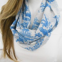 Blue White Infinity scarf, Circle Scarf, Loop Scarf, Scarves, Spring-Fall-Winter-Summer Fashion, Women's Fashion, animated illustrations