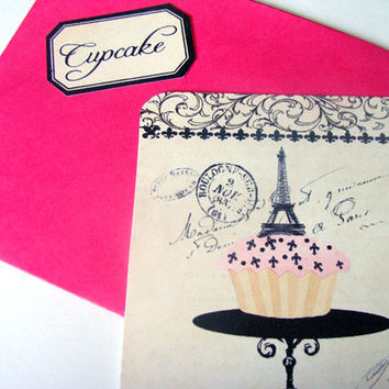 French Shabby Cupcake Flat Card Set 4 Cards Envelopes And Stickers