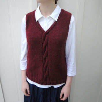 Red Knit Vest, Women/Teen Girls, Small/Medium, Hand Knit Pullover, Cable Pattern