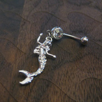 Mermaid Belly Button Ring -- Crystal Rhinestones