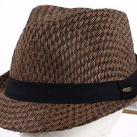 Straw Summer/Spring Fedora Hat with Fashion and Design, Brown