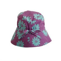 Girls Cotton Sun Hat With Tie In Purple With Turquoise Flowers