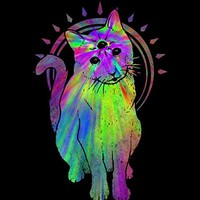 Psychic psychedelic trippy cat Men's Graphic T Shirt - Design By Humans