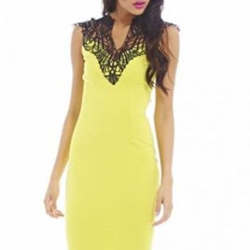 Crochet Neck Midi Lime Dress