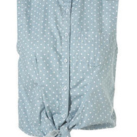 Spot Tie Front Sleeveless Denim Shirt - Tops - Clothing - Topshop USA