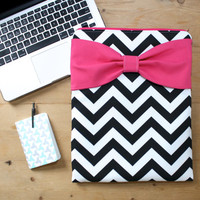 MacBook Pro / Air Case, Laptop Sleeve - Black and White Chevron Hot Pink Bow - Double Padded - Sized to Fit Any Brand