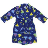 Blue Rubber Duck Fleece Bath Robe for Girls