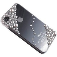 3D White Pearl Bling Case Cover for Iphone 4 & 4s Made w/ Swarovski Elements
