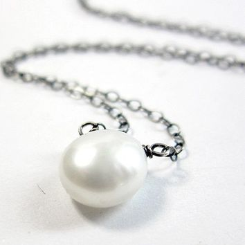 Freshwater Pearl Solitaire Necklace, Sterling Silver June Birthstone