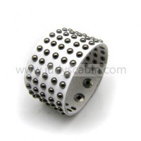 White Leather Studded Bracelet