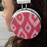 Pink Glitter ikat headphones by HoneyBadgerBuds on Etsy