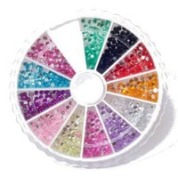 Nail Art MoYou Rhinestone Pack of 1200 Crystal Premium Quality 2mm Gemstones in 12 different colors, beauty accessory for womens nails, fun and easy to apply with top coat or nail glue!