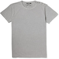 Balmain - Button-Embellished Striped Cotton-Jersey T-Shirt | MR PORTER