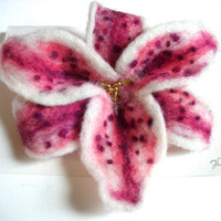 Star Gazer Lily Needle and Wet Felted Flower Pin by jhammerberg