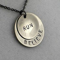 BELIEVE IN YOUR RUN - Nickel pendants with 18 inch gunmetal chain