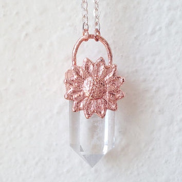 Copper Daisy Quartz Point Necklace-FREE SHIPPING