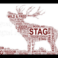 The Stag - Shaped Word Art  Instant Download.  Printable Art Gift. PDF, Inspiring Wall Art. Home Decor, Unique gift