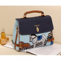 Blue pony package Mobile Messenger female bags-Handbags