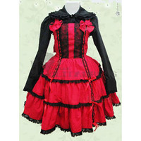 Cheap Long Sleeves Turndown Collar Bowknot Multi-Layer Cotton Black and Red Gothic Lolita Dress [TQL120504050] - £49.59 :