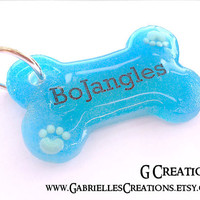 Blue Bone Dog Tag with Paws - Male Dog Waterproof Pet Bling - Custom Color Dog Pet ID - Cute Male Dog Collar Accessory - Personalized Tag