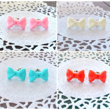 Tiny Bow Earrings - Pink, White, Coral Red or Tiffany Blue Bow - Mini Post Stud Earrings - Cute, Girlie and Kawaii Jewelry - Cosplay Jewelry