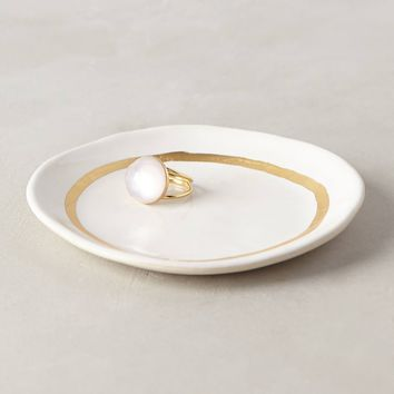 Gilded Runnel Trinket Dish by Anthropologie White Trinket Dish Office
