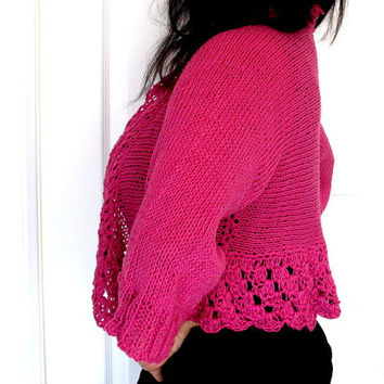 Pink bamboo sweater, knit hot pink cardigan with crochet edges, outerwear