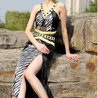Column Sheath Spaghetti straps Floor Length SatinEvening Dress(ED2882) [ED2882] - $118.40 :