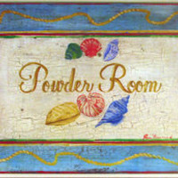 Seashell Powder Room Wall Plaque