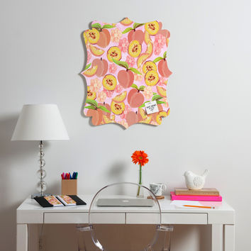 Lisa Argyropoulos Peaches On Pink Quatrefoil Magnet Board