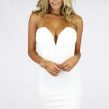 DEEP V BODYCON - IVORY
