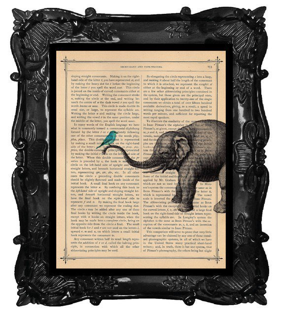 OUR ORIGINAL DESIGN Vintage Elephant and Teal Bird by BlackBaroque