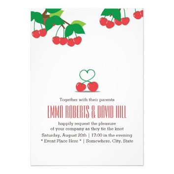 Simple Cherry Heart Wedding Invitations