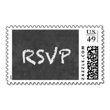"""RSVP"" Simple Chalkboard Wedding Stamps"