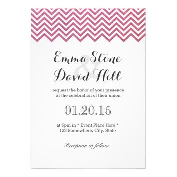 Simple Glitter Pink Chevron Stripes Wedding