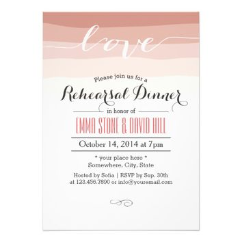 Modern Script Love Coral Stripes Rehearsal Dinner