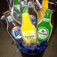 Beer cookies, beer gift basket, Birthday cookies, Gift for Dad, Beer Six Pack, Cookie Bouquet