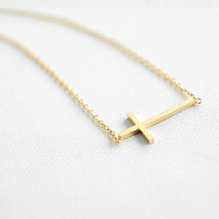 simple style gold crossing pendant women by braceletcool on Etsy