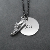 RUNNING SHOE XC Cross County Necklace - Cross Country Team Necklace on Gunmetal chain - Cross Country Team Necklace - Cross Country Coach