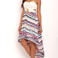 Strapless Open Bow Back Dress with Tribal Print High Low Skirt