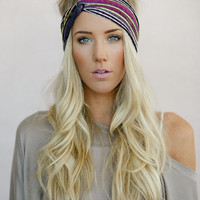 Turban Headband, Tribal Head Wrap, Fabric Hair Wrap, Fashion Hair Accessories, Printed Jersey Turband in Aztec (HB-3846)