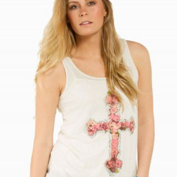 FLORAL CROSS GRAPHIC TANK