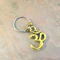 Gold Ohm Om Beaded Cartilage Hoop Earring - You Choose Colors