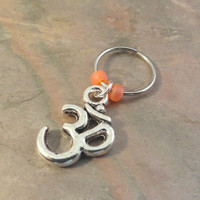 Silver Ohm Om Beaded Cartilage Hoop Earring - You Choose Colors