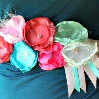 Wedding Sash - Maternity Sash - Flower Girl Sash - Cake Smash - Pregnancy Photo Prop - Blue, Pink, Teal, and Coral Sash